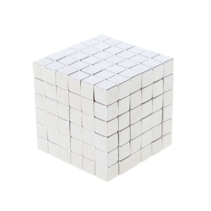 4mm 216pcs Magnetic Square 3D Puzzle Magic Cube Toy - Silver Color
