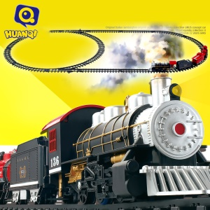 HUANQI 3500-3A Classic Battery Operated Toy Train Set with Real Smoke, Sounds and Lights