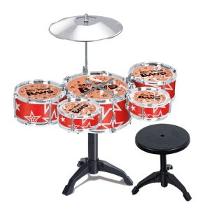 10 Pieces Kids Jazz Drum Set Musical Toy with 5 Drums Chair Cymbal Drumsticks - Red Stars