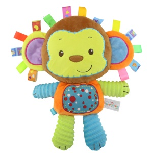 HAPPY MONKEY Infant Baby Comforter Toy Soft Plush Rattle Early Educational Development Toy - Monkey
