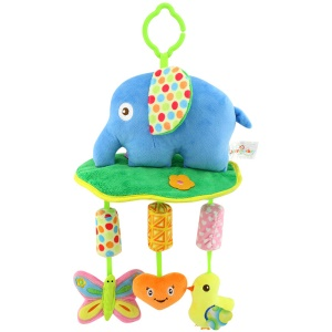 Baby See Play Soft Plush Cartoon Animals Hanging Toy Wind Chimes - Blue Elephant