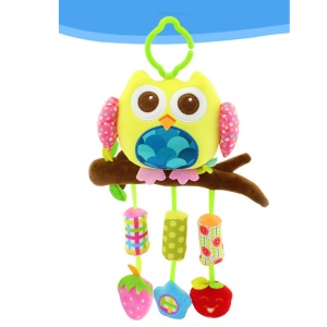 Cute Wind Chime Baby Bed Strollers BB Rattles Bell Hanging Toys - Yellow Owl
