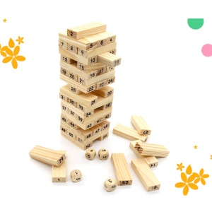 54 Pieces Natural Wood Color Jenga Timber Tower Wood Block Stacking Game