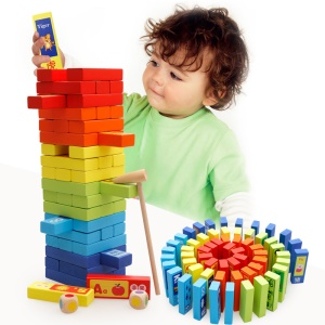 60Pcs/Set Wooden Stacking Board Games Educational Tumbling Tower Blocks for Kids