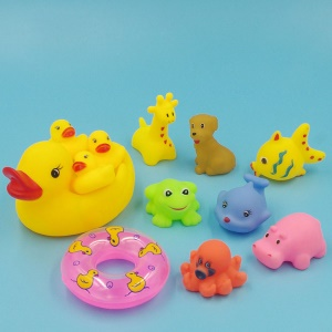 Funny Mummy & Baby Ducks Animals Squeaky Toys Baby Bathing Toys Shower Kid Game Toys