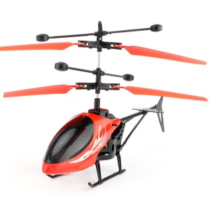 UTOGHTER 2CH Hand Induction Infrared Helicopter Flying Toy for Kid - Red