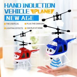 8188 Flying Mini RC Infrared Induction Helicopter Aircraft with Flashing Light - Blue