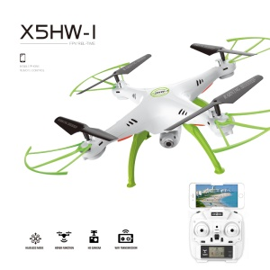 SMAO X5HW-1 2.4GHz 4CH 6-Axis Gyro RC Quadcopter Drone with 2MP WIFI Camera Real-Time Transmission - White / Green