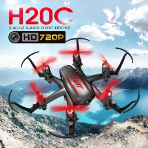 JJRC H20C 2.4G 4CH 6-Axis Mini RC Helicopter Drone with 720P 2MP Camera One Key Return - Red