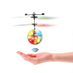 Mini LED Flashing Flying Ball Infrared Induction Aircraft Helicopter Children Toy with Remote Control - Transparant