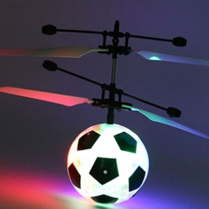 Mini LED Flashing Flying Ball Infrared Induction Aircraft Helicopter Children Toy with Remote Control - Football / White Wing