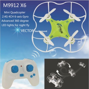 M9912 X6 Mini RC Quadcopter 2.4G 4CH 6-axis Gyro Stable helicóptero con noche LED