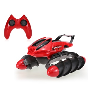 FLYTEC 989-393 2.4G Remote Control Amphibious Stunt Tank Waterproof High Speed RC Tank Boat - Red