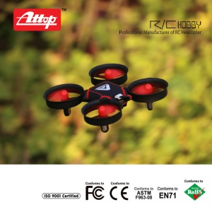 ATTOP A11 Handheld 2.4G Mini Quadrotor RC Helicopter with 360° Flip 3 Different Speed Headless Mode - Red