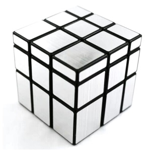 Irregular 3x3x3 Brushed Mirror Magic Cube Puzzle 57mm - Silver Color