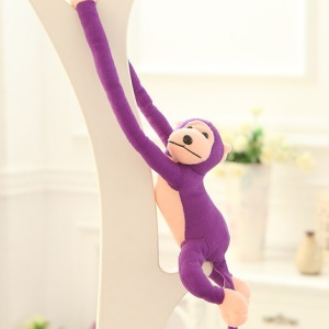 Long Arm Cute Stuffed Plush Monkey Lovely Animal Toy with Velcro Paws 80cm - Purple