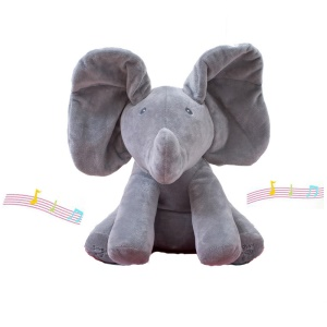 Elephant Plush Toy Sing and Play Elephant Peluche Jouets Farcis Interactive Funny Baby Toy - Gris