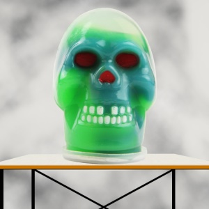 Kids Funny Squeeze Barrel Slime Horrible Skull Goo Non-toxic Interesting Prank Toy - Blue + Green