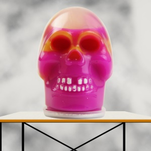Barrel Slime Skull Shape Squeeze Stretch Goo Silly Gag Prank Party Favors Toy - Yellow + Rose