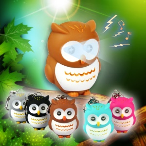 Cartoon Owl Squeaky Toy Bag Pendant ABS Key Chain with Blue LED Light