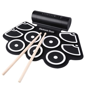 W760 Silicone Electronic Drum Kit Digital USB Roll-up with Drumstick Foot Pedal - US Plug