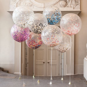 36-inch Confetti Balloons Jumbo Latex Balloon Paper Balloons Crepe Paper Filled with Multicolor Confetti for Wedding