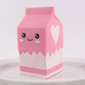 Slow Rising Kawaii Milk Carton Bottle Squishy Toy Hand Stress Reliever Toy - Pink