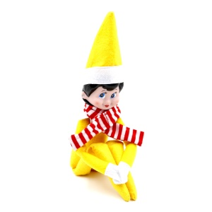 Pocket Sized Christmas On Shelf Elf with Scarf Plush Toy Christmas Gifts for Kids - Yellow / Girl