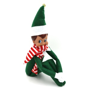 Christmas Elf with Scarf Pocket Sized On Shelf Doll Plush Toy Christmas Gifts for Kids - Green / Boy