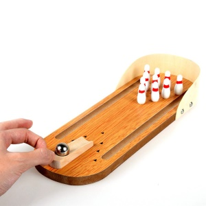 Mini Interactive Desktop Games Educational Toy Wooden Table Bowling for Children Kids