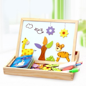 Black Board & Magnetic White Board Double Sided Easel Toys for Kids - Animals