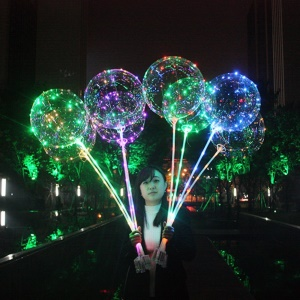 18 inch Colorful LED Light Up Balloon Luminous LED Bubble Balloon with 70cm Stick - Transparent