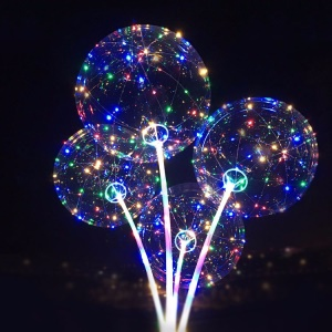 Colorful LED Light Up 18 inch Balloon with Sticks Premium 3M Led String Lights