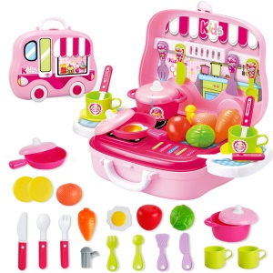 25Pcs Children Play House Game Toy Artificial Kitchen Suitcase Toy Set Mini Learn Cooking Toy - Pink