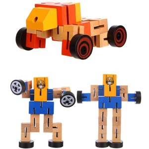 Super Cool Cars Transformation Wooden Robots Action Figure Toy