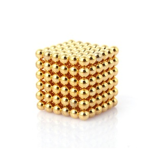 216 Pieces Magnetic Round Balls 3mm Magnetic DIY Ball Beads for Children - Gold Color