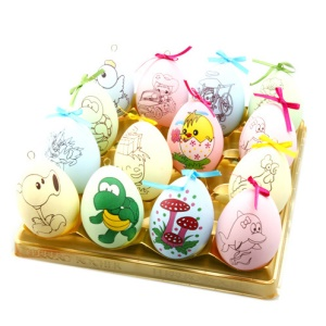 Colorful Resurrection DIY Eggs Cartoon Figure Easter Eggs with 6 Pieces Crayons for Kids