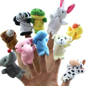 10pcs/lot Different Cartoon Animal Finger Toys Soft Cloth Velvet Finger Puppets Dolls