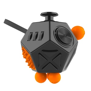 12 Sides Decompression Magic Cube for Fidget, Relieves Anxiety and Stress - Black + Orange
