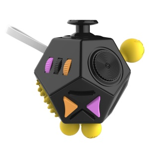 12-Side Fidget Cube Relieves Stress and Increases Focus for Adults with ADHD ADD OCD Autism - Black + Yellow