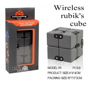 Infinity Cube Pressure Reduction Toy Mini Fidget Cube for Kids and Adults - Grey