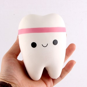 Slow Rising Cute PU Stress Relief Squeezing Tooth Shape Pressure Reduced Toy - Pink