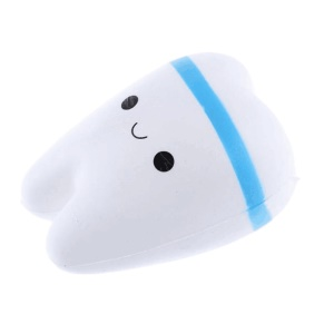 Cute PU Stress Relief Tooth Shape Spingback Pressure Reduced Toy - Blue