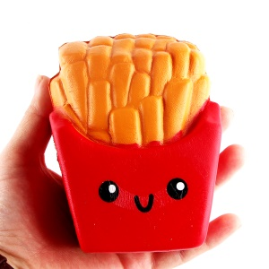 Elastic PU Stress Relief French Fries Reduced Pressure Squishy Toy - Red