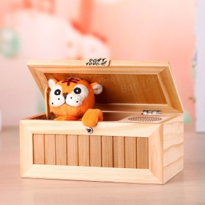 Creative Don't Touch Useless Box Unique Wooden Box Cute Tiger & Surprises Most Funny Toy
