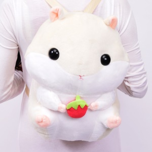 Cute Animal Plush Stuffed Hamsters Doll Casual Shoulder Bags Backpack - Beige