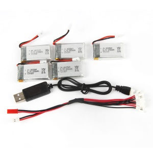 5PCS 3.7V 650mAh Li-Po Battery with 2-to-5 Connecting Cable and USB Cable for LIDIRC L15W/L15FW / SYMA X5C/X5SC/X5SW