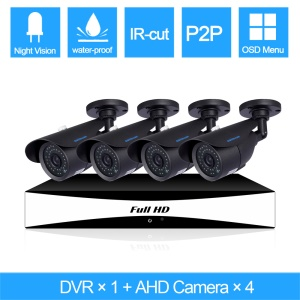 SINOCAM 720P 4CH AHD DVR Kits with 20m IR Distance, 1PCS DVR + 4PCS 720P Bullet Camera (SN-AHK-40010B2) - PAL / EU Plug