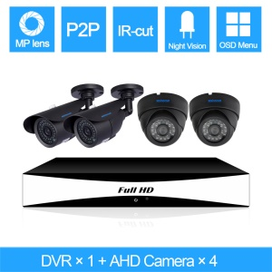 SINOCAM 720P 4CH AHD DVR Kits with 20m IR Distance, 1PCS DVR + 2PCS 720P Metal Dome Camera + 2PCS 720P Bullet Camera (SN-AHK-40010BD4) - PAL / EU Plug