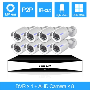 SINOCAM 720P 8CH AHD DVR Kits with 20m IR Distance, 1PCS DVR + 8PCS 720P Bullet Camera (SN-AHK-80010B) - PAL / EU Plug